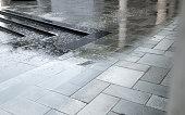 rain water on paving stone