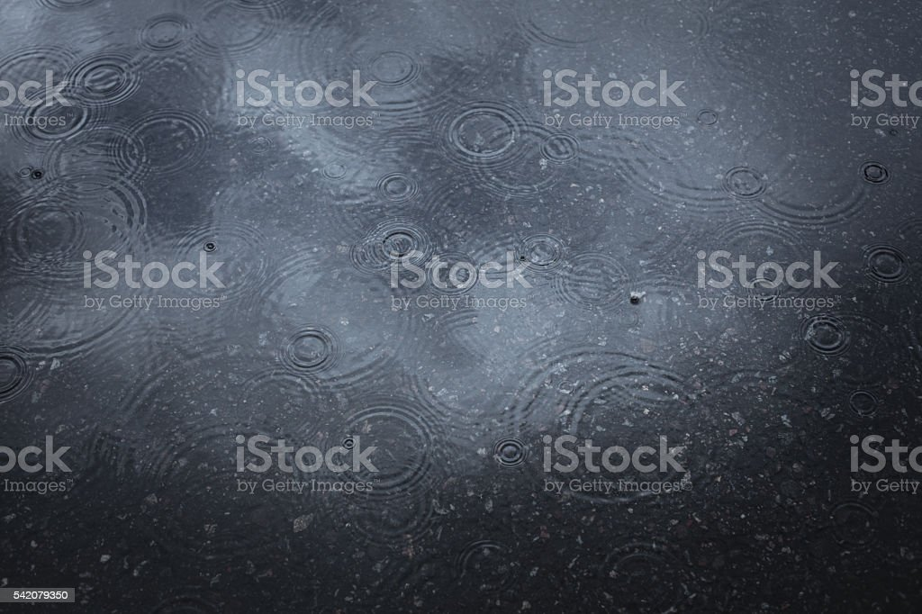 Rain. Water ripples on a wet asphalt. stock photo