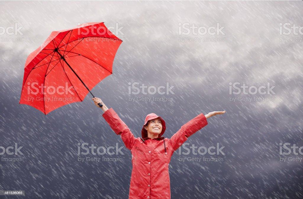 Rain? Who cares?! stock photo