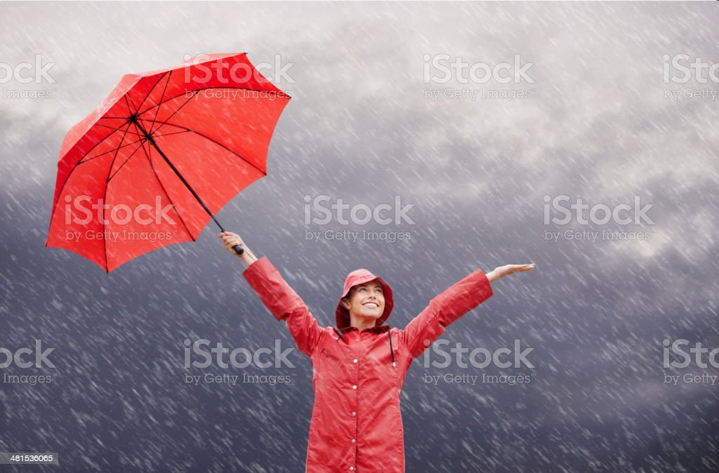 Rain? Who cares?! stock photo