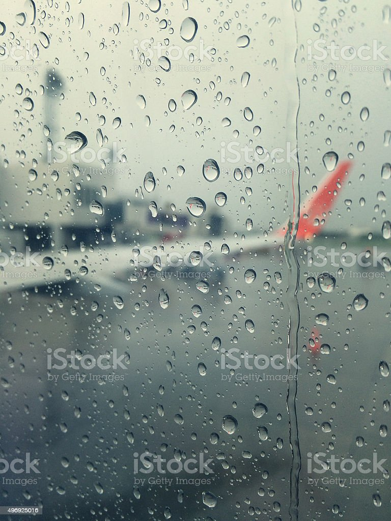 Rain with a Airplane wing. stock photo