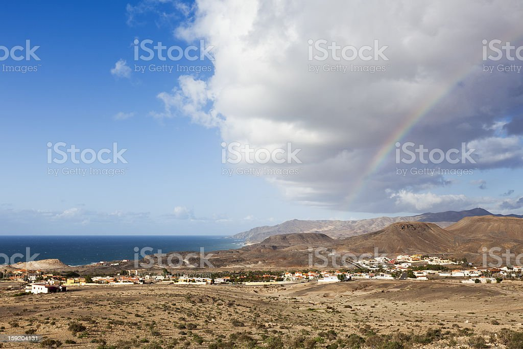 Rainbow above Fuerteventura stock photo