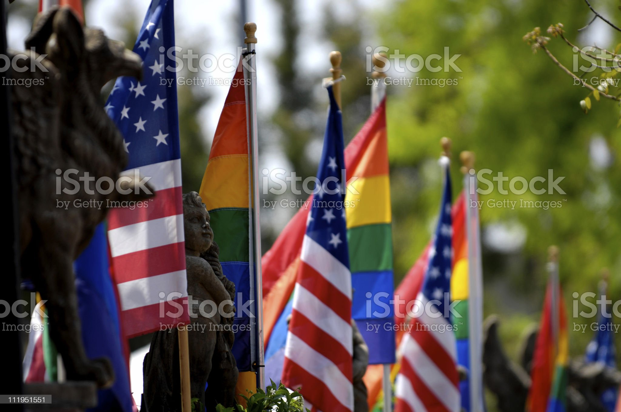 Rainbow and American Flags royalty-free stock photo