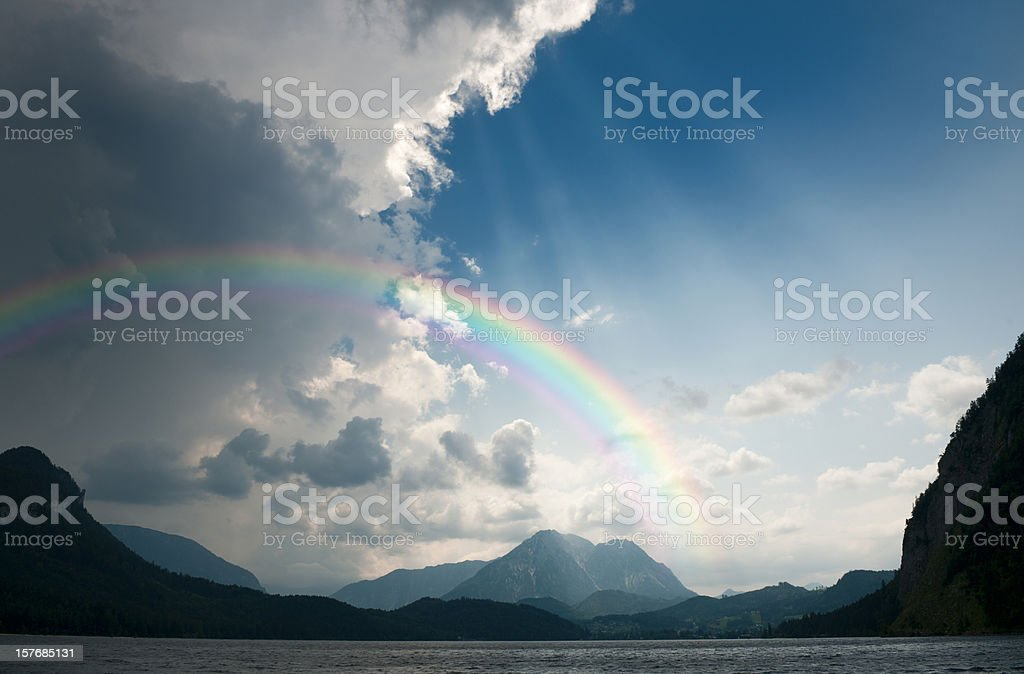 Rainbow and heavy Storm moving in (XXXL) stock photo