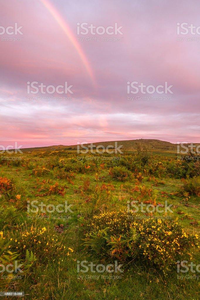 Rainbow and pink sky stock photo
