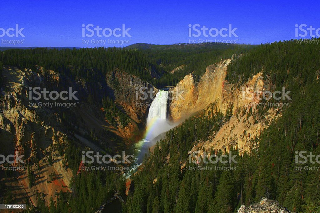 Rainbow and Yellowstone Falls stock photo