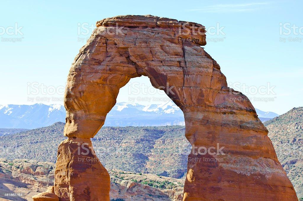 Rainbow Arch, Arches National Park, Utah stock photo