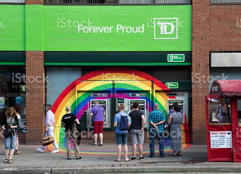 Rainbow around TD Bank ATMS stock photo