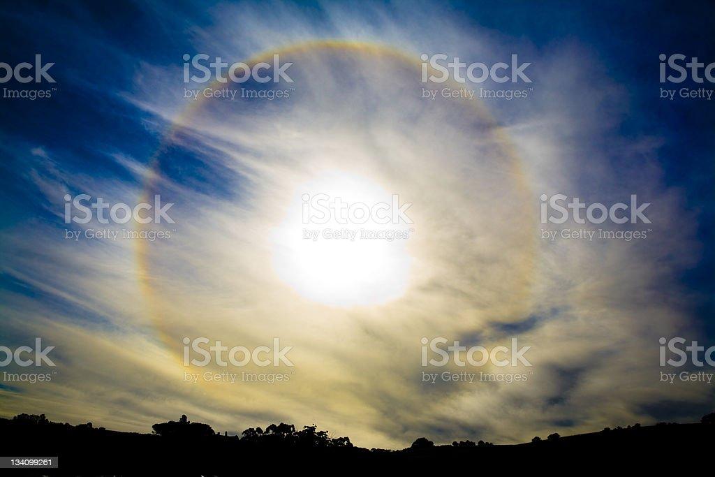Rainbow around the sun stock photo