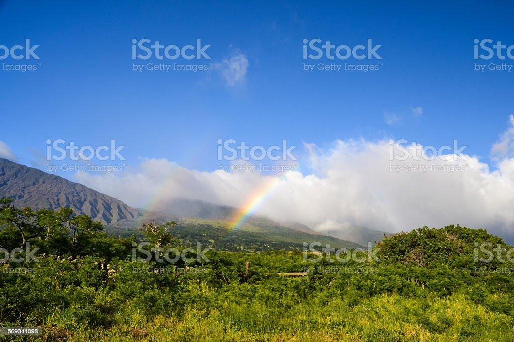 Rainbow at Haleakala Crater - East Maui, Hawaii stock photo