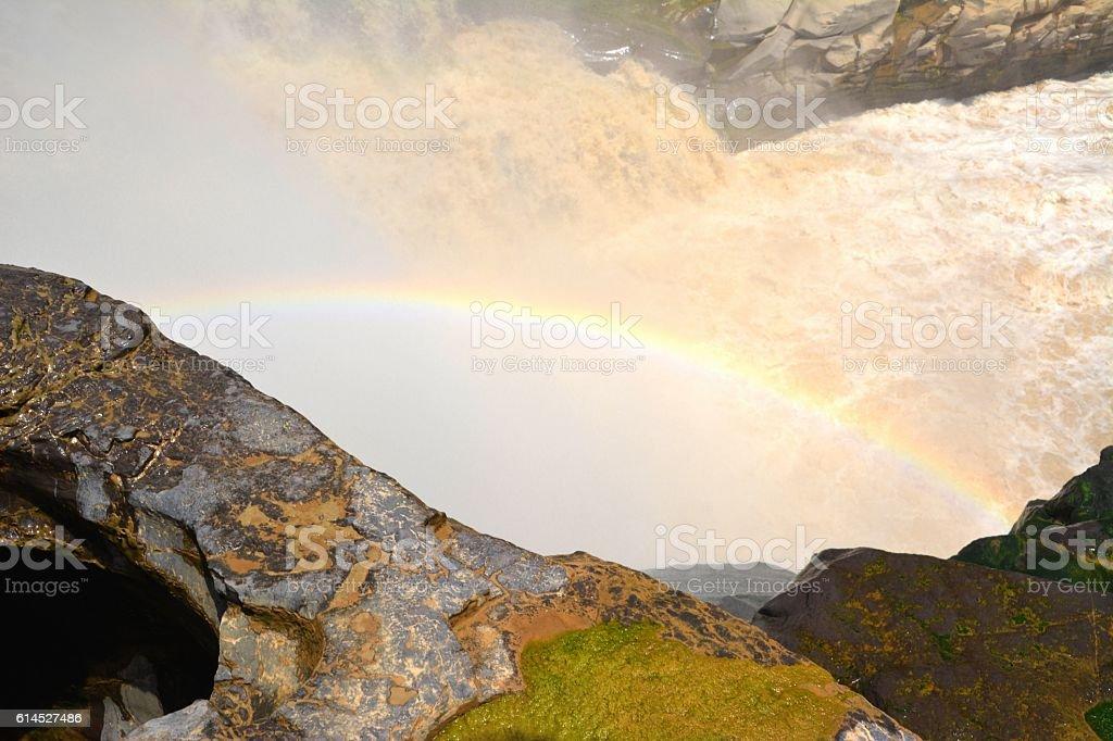 Rainbow at Hukou waterfall, Shaanxi, China stock photo