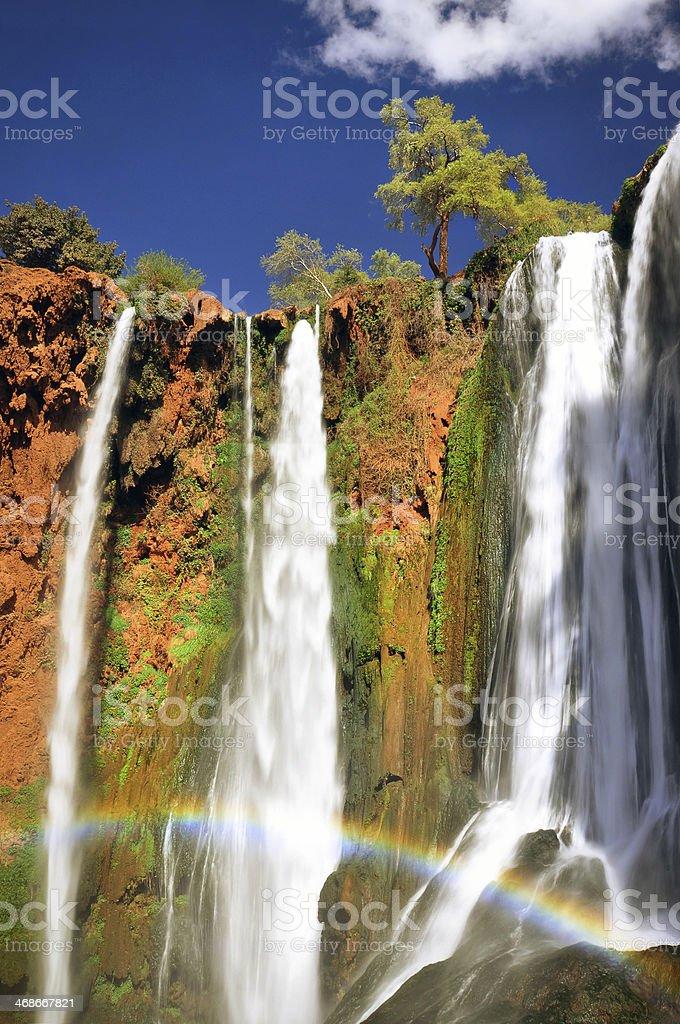 Rainbow at Ouzoud waterfall, Morocco stock photo