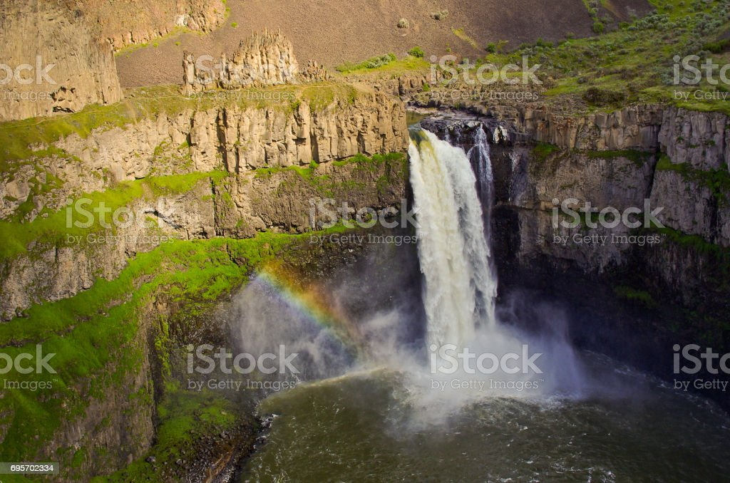 Rainbow at Palouse Falls stock photo