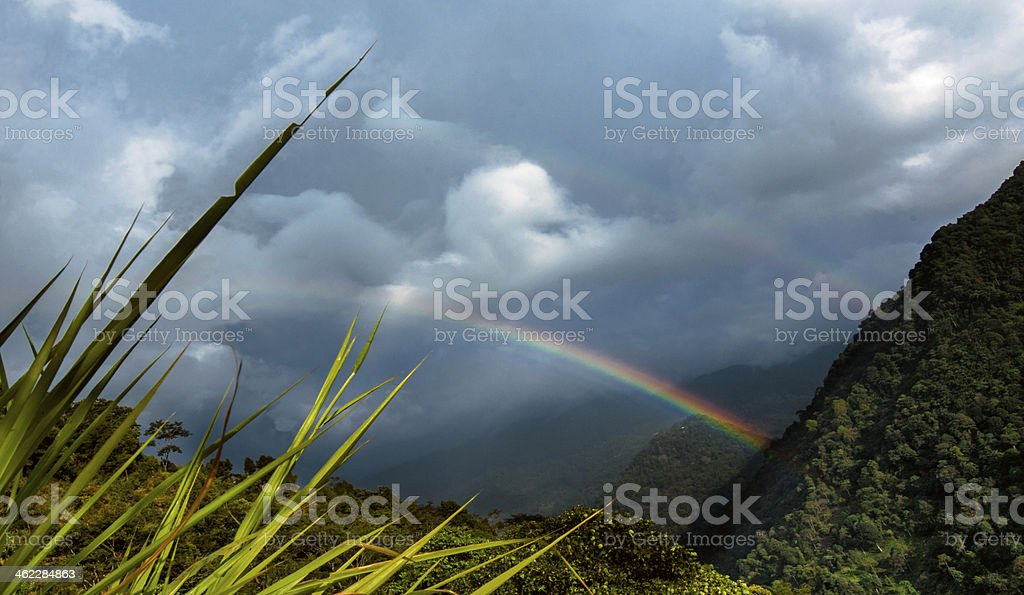 Rainbow at Zuluk (Dzuluk) village, Sikkim stock photo