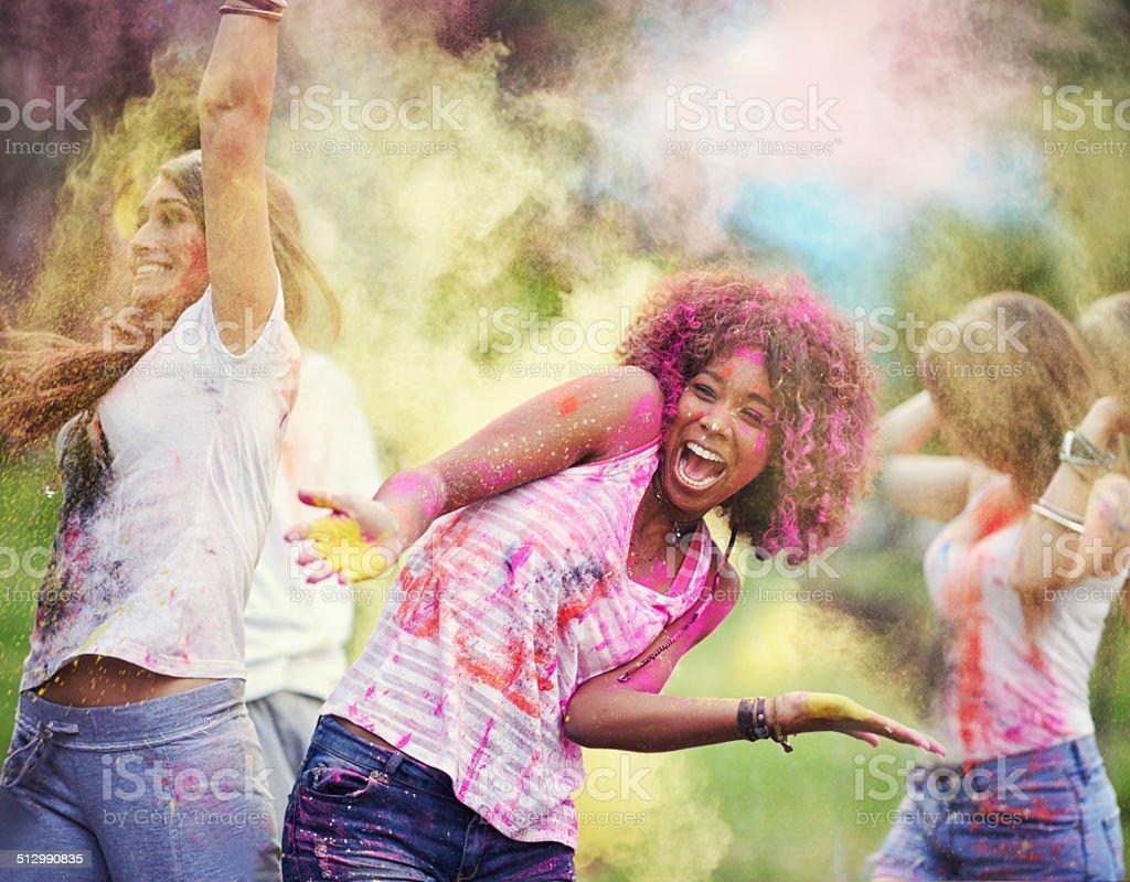 Rainbow attack! stock photo