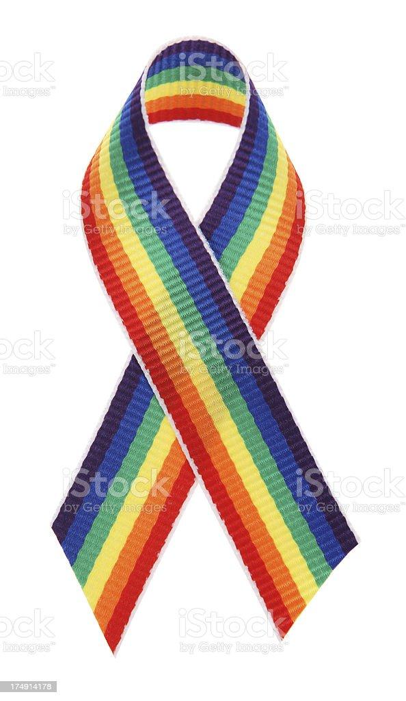 Rainbow Awareness Ribbon stock photo