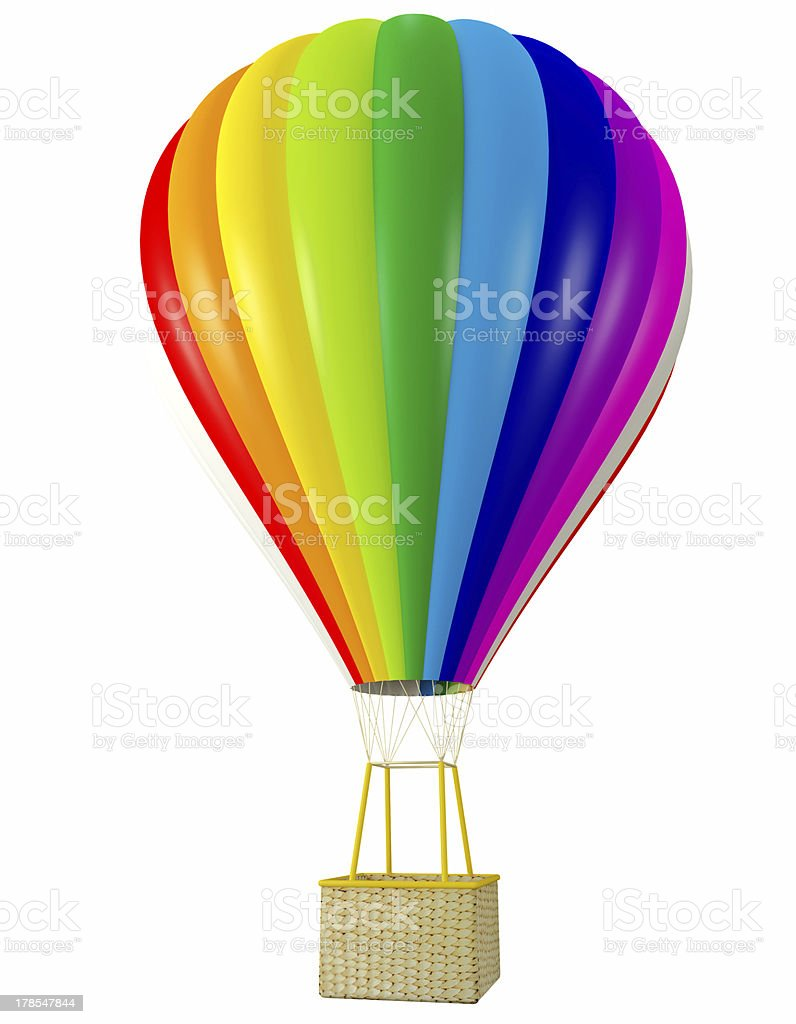 Rainbow balloon with hot air isolated on white royalty-free stock photo