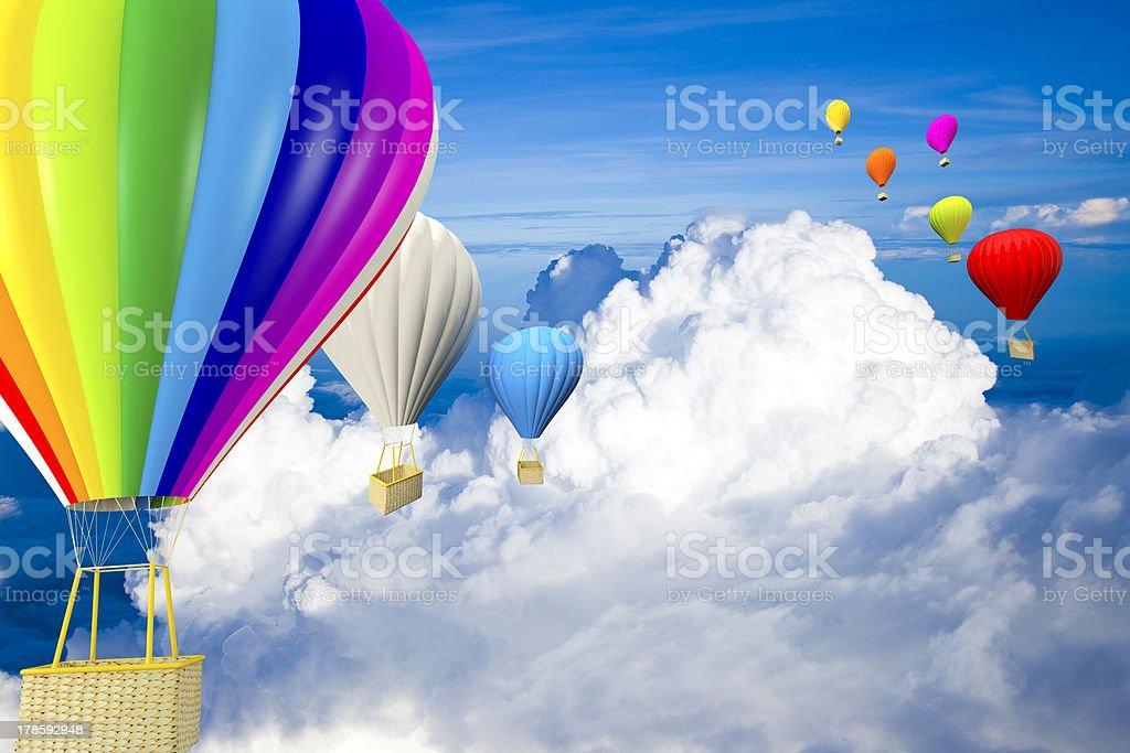 Rainbow balloon with hot air royalty-free stock photo
