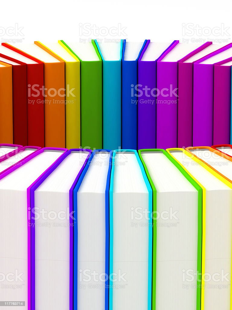 Rainbow books in circle royalty-free stock photo