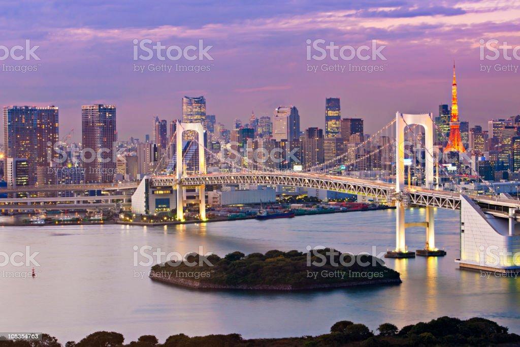Rainbow  Bridge at dusk stock photo