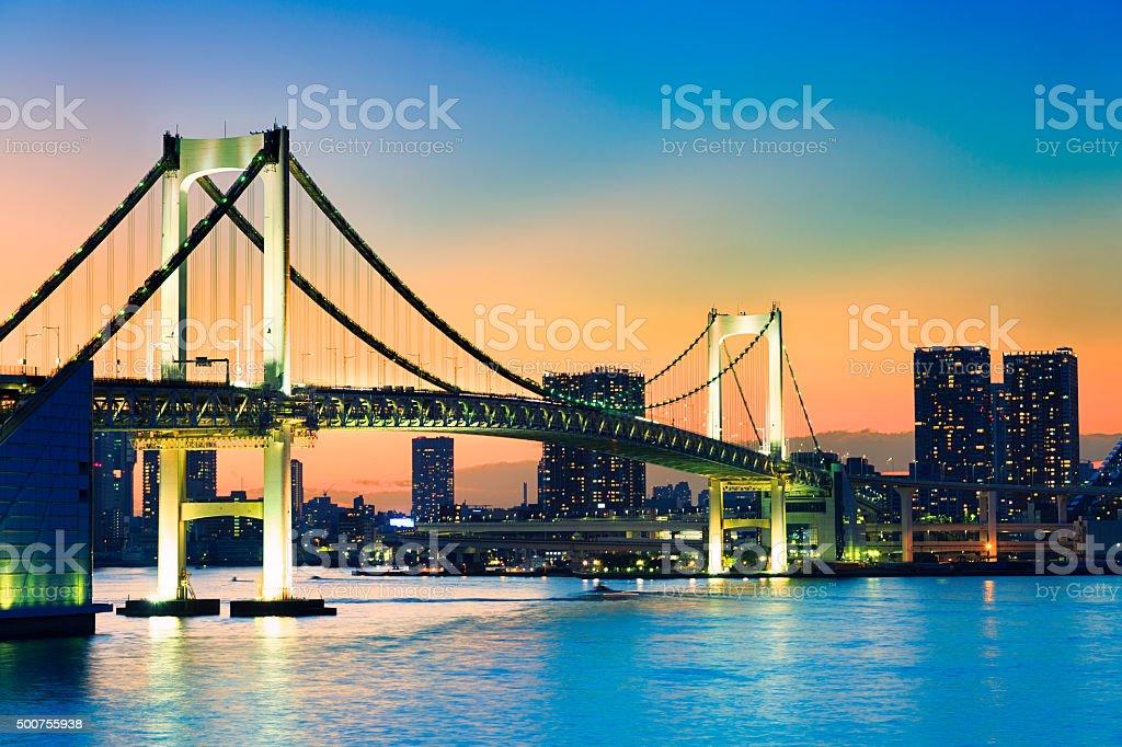 Rainbow bridge at sunset, Tokyo - Japan stock photo