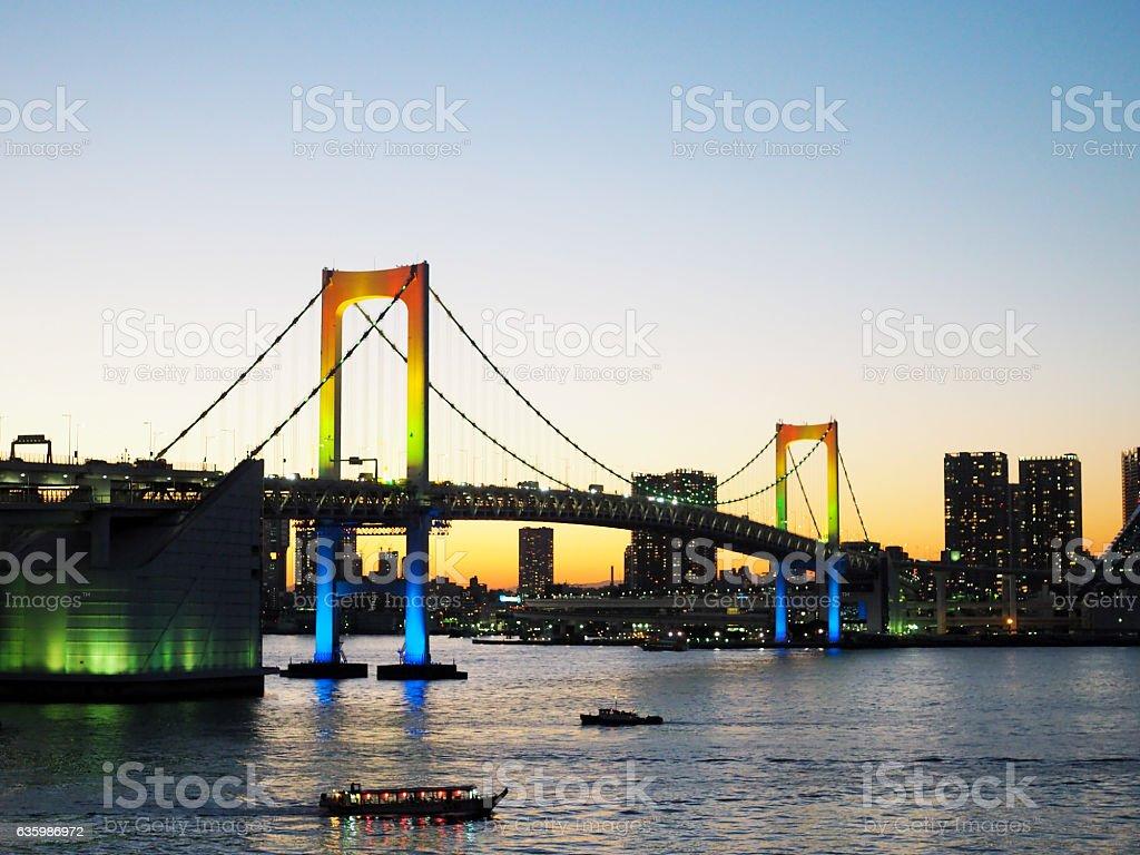Rainbow Bridge At Sunset, Tokyo, Japan stock photo
