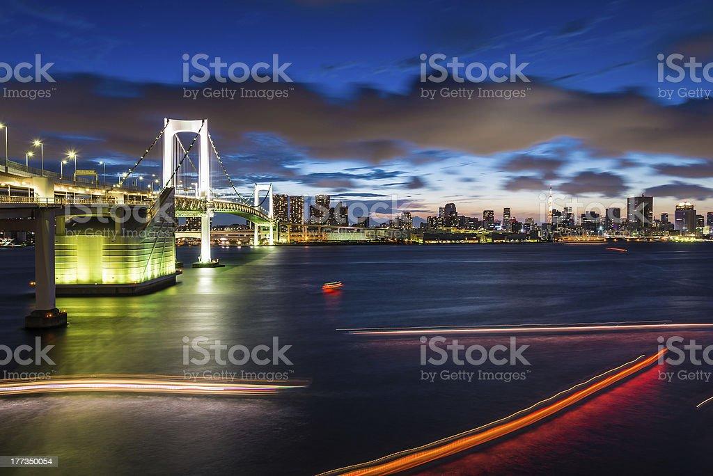 Rainbow bridge at twilight royalty-free stock photo