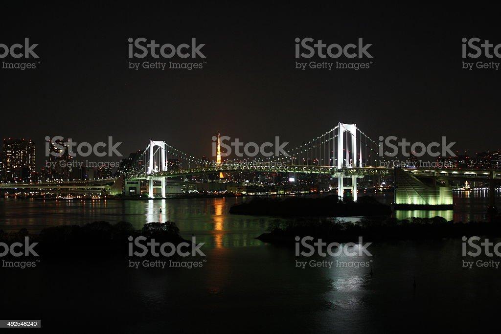 Rainbow bridge by night royalty-free stock photo