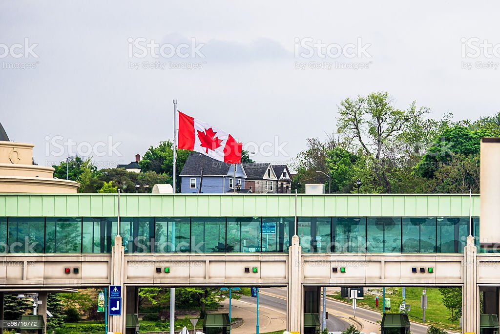 Rainbow Bridge Canada Toll Plaza stock photo
