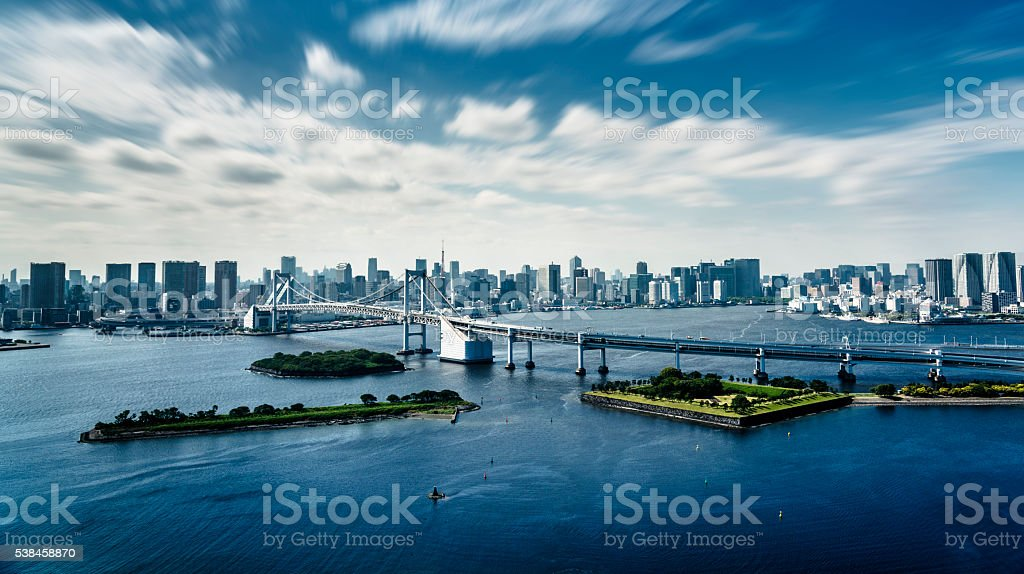 Rainbow bridge in Tokyo - Japan stock photo