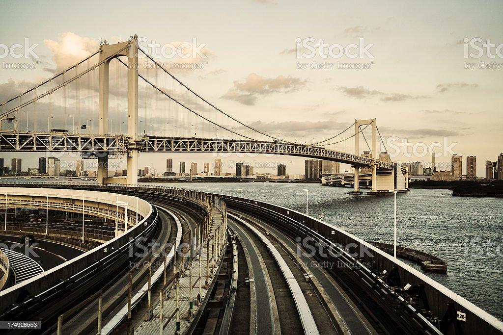 Rainbow bridge over Tokyo Bay royalty-free stock photo