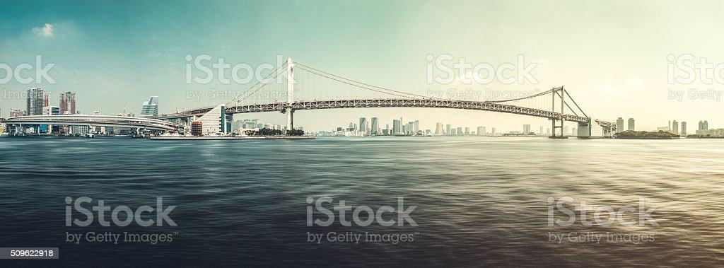 Rainbow Bridge Panorama Tokyo stock photo
