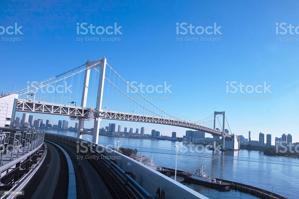 Rainbow bridge seen from Yurikamome stock photo