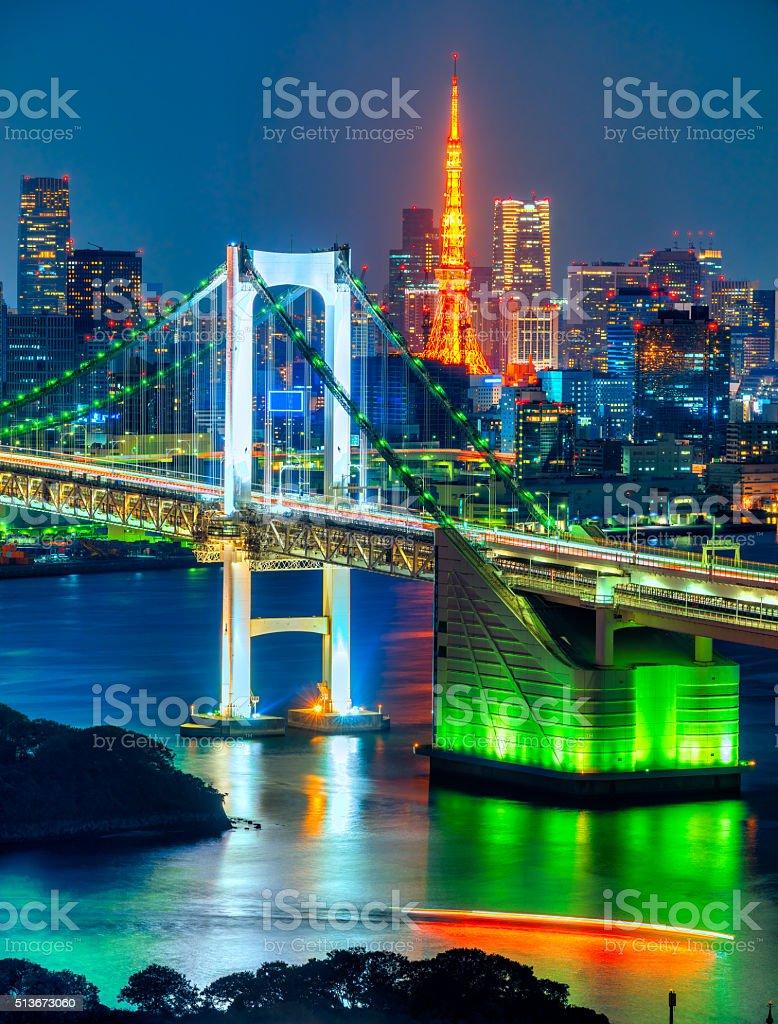 Rainbow Bridge with the Tokyo Tower, Japan. stock photo