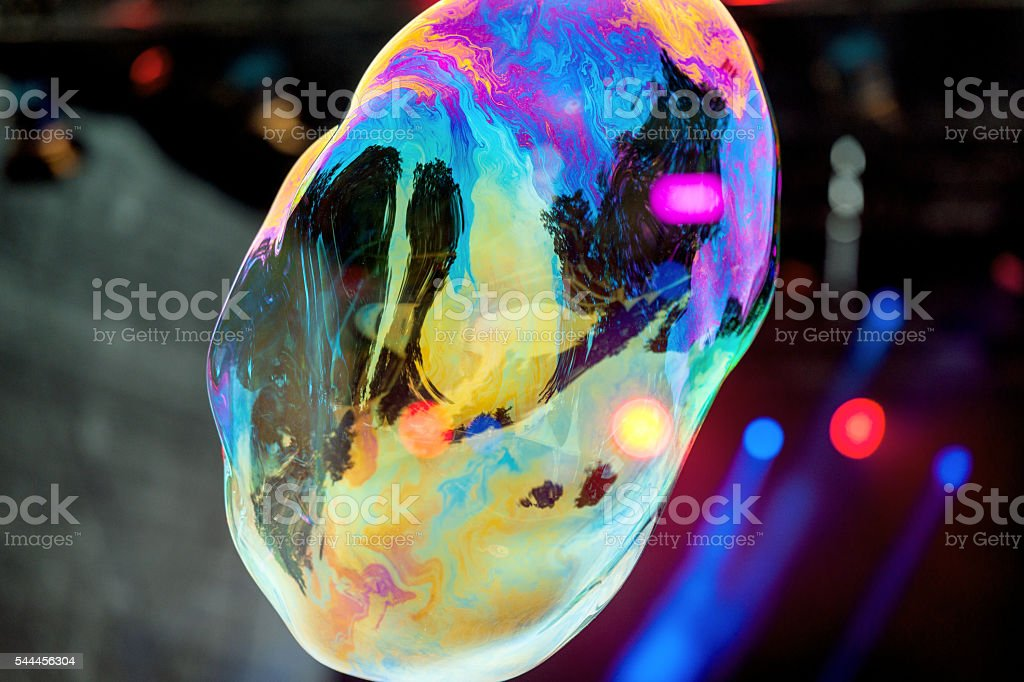 Rainbow Bubble with Reflections and Stage Lights, Europe stock photo