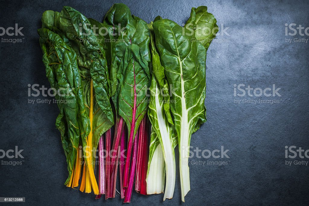 Rainbow chard , colorful eating stock photo