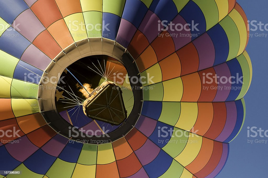 Rainbow Checkered Hot Air Balloon Close-Up royalty-free stock photo