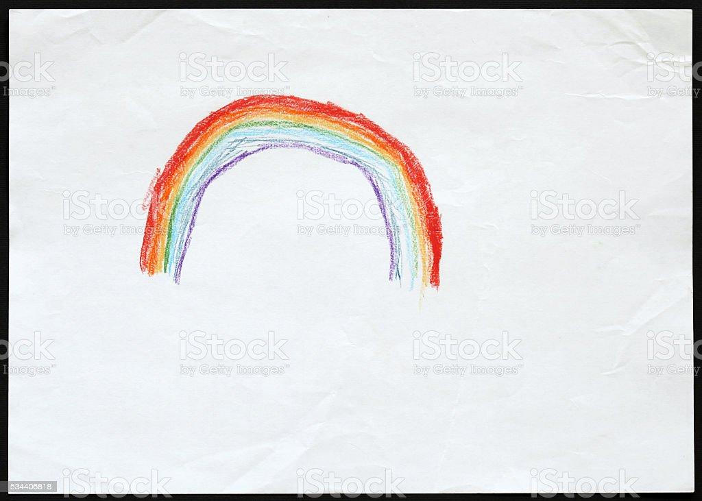 Rainbow. Child's Drawing. stock photo