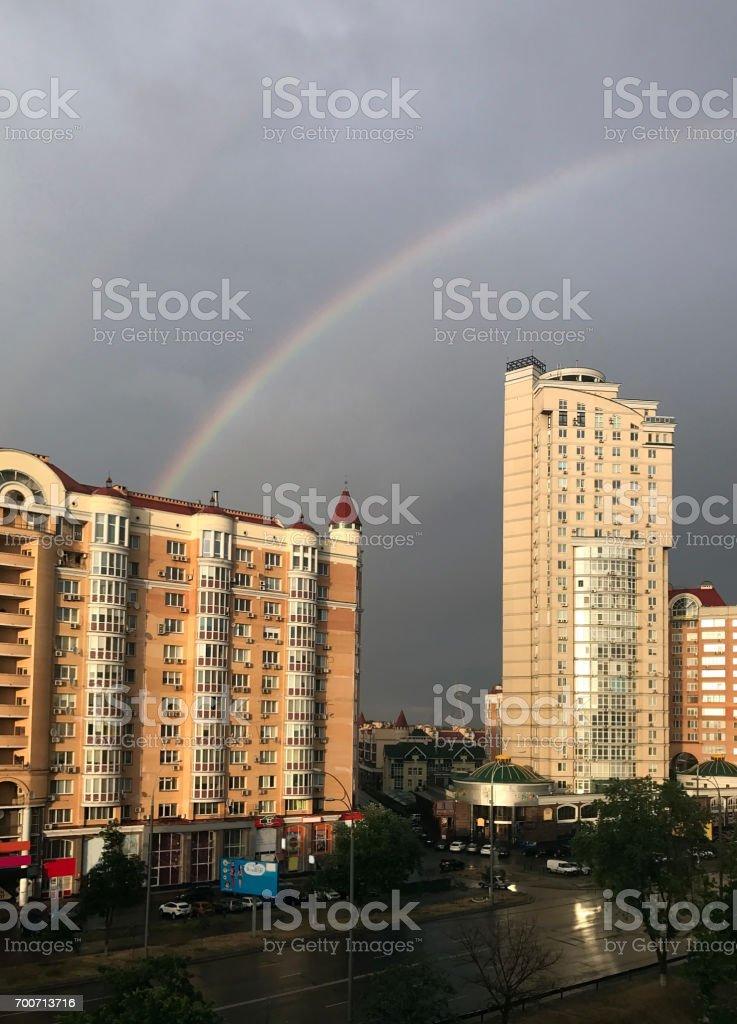 Rainbow City stock photo