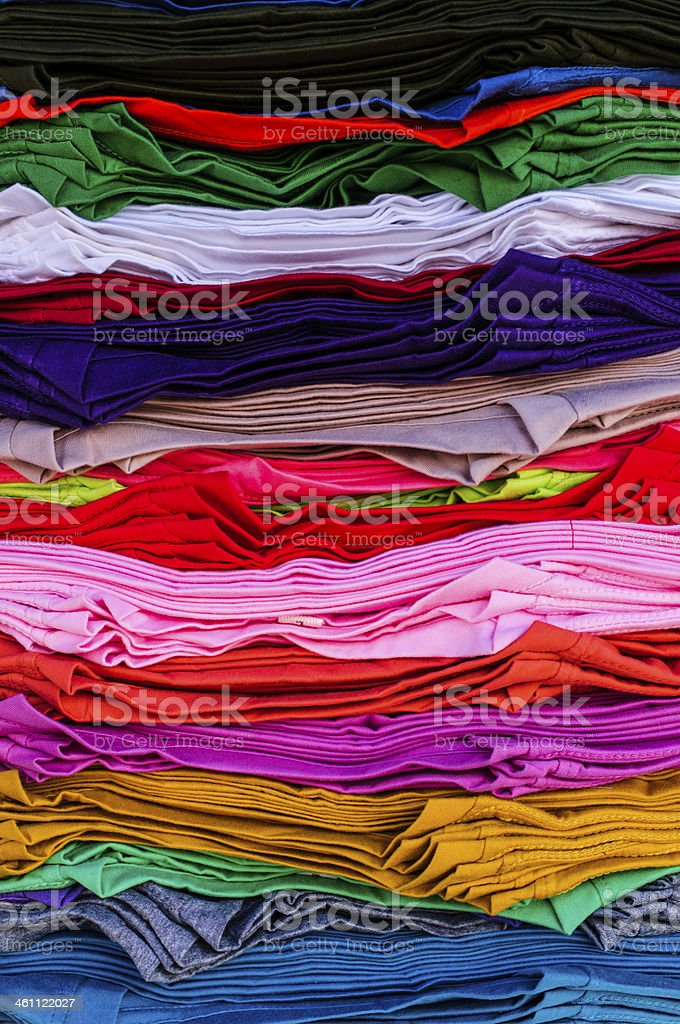 Rainbow clothes background. stock photo
