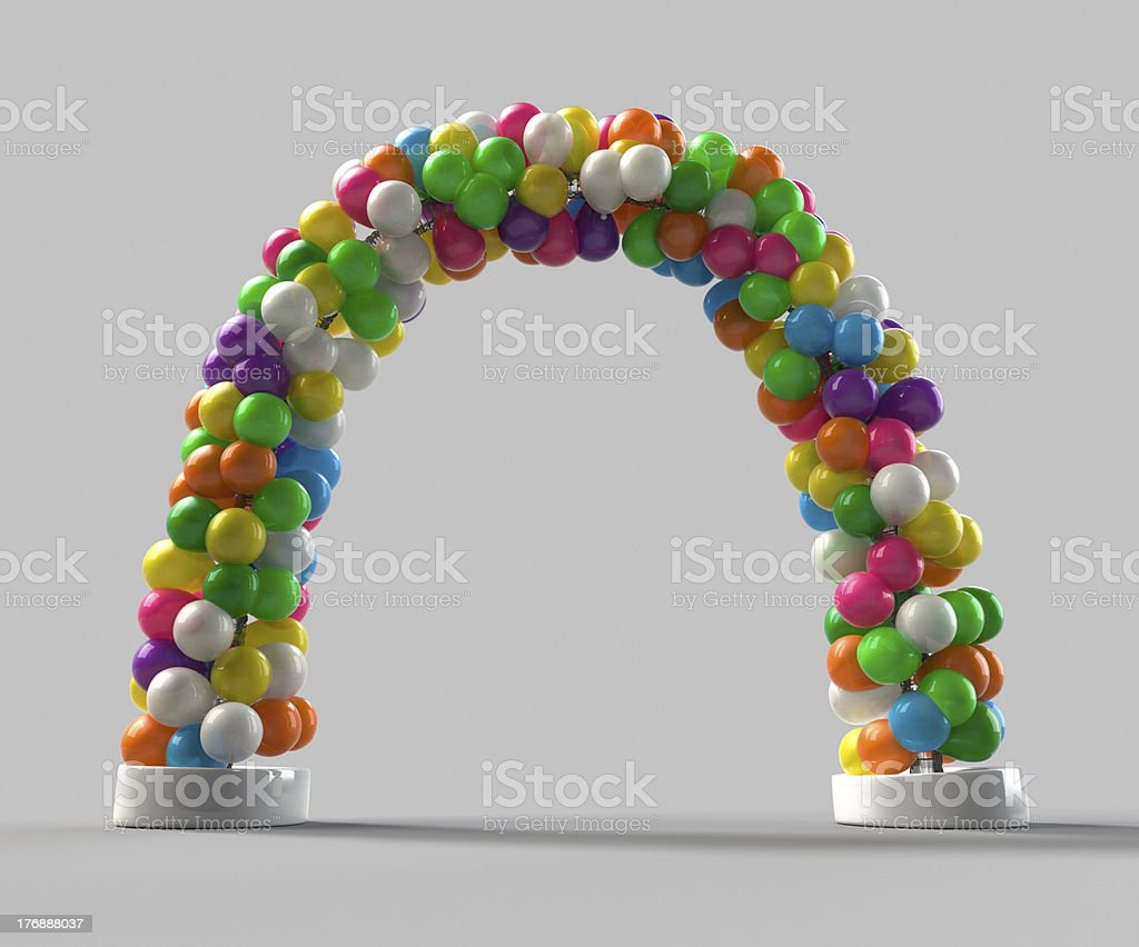 Rainbow color Balloon arch decoration stock photo