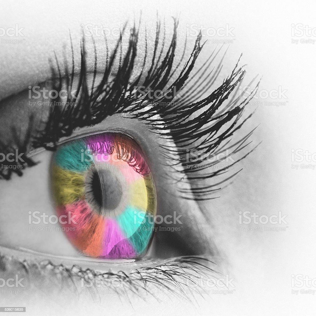 Rainbow color eye monochrome edit stock photo