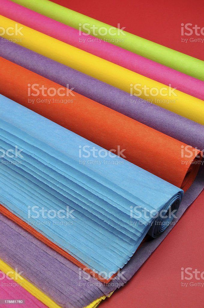 Rainbow color gift wrapping tissue paper. royalty-free stock photo
