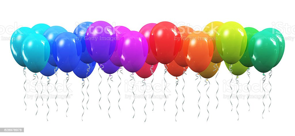Rainbow color inflatable air balloons stock photo