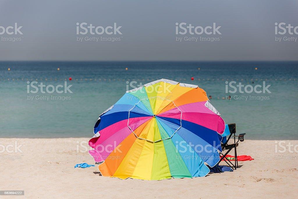 Rainbow Color on Big Umbrella on The Jumeirah Beach, Dubai stock photo