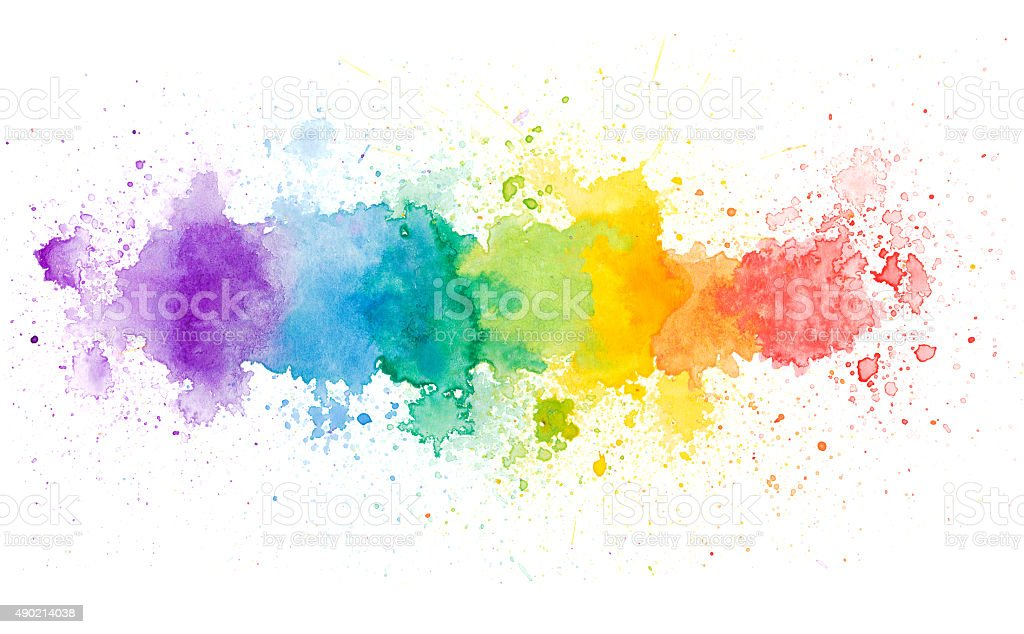 rainbow color watercolor background stock photo