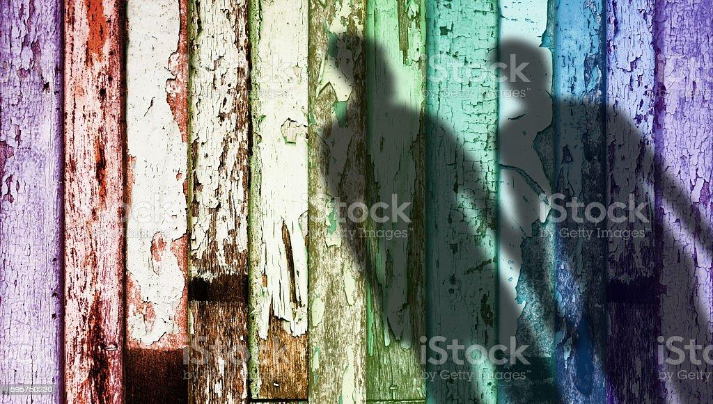 Rainbow Color Weathered Wood, Shadow Shape of Gay stock photo