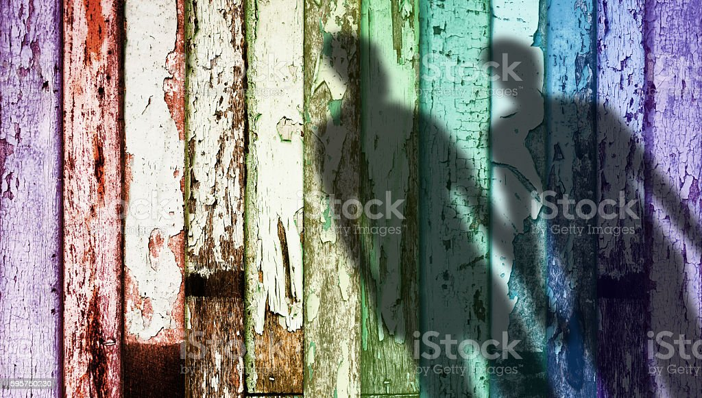 Rainbow Color Weathered Wood, Shadow Shape of Gay stock photo