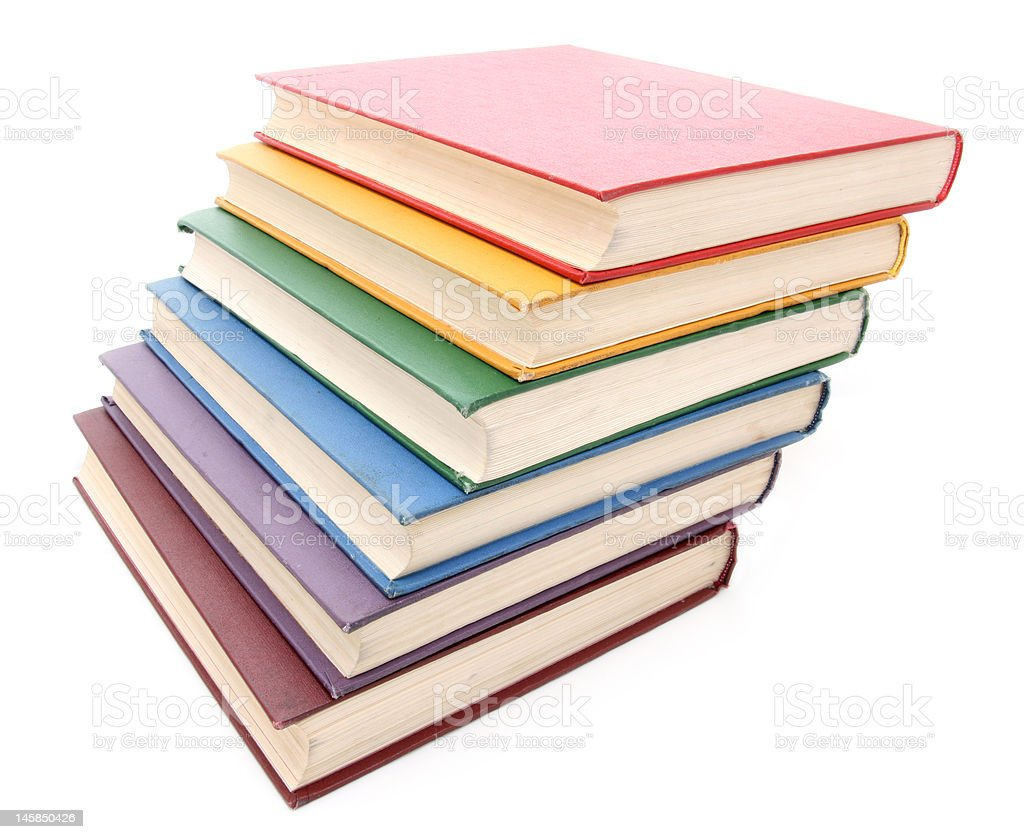 Rainbow colored books royalty-free stock photo