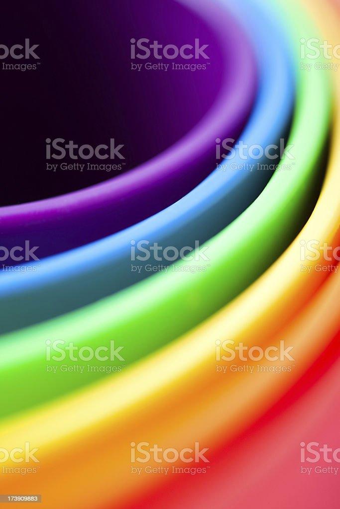 Rainbow Colored Buckets royalty-free stock photo